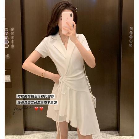 YF37973# 连衣裙春装新款女气质v领短袖设计感不规则小黑裙子 服装批发女装直播货源