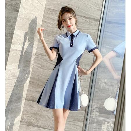 YF38246# 夏装新款女装夏季小个子衬衫裙polo蓝色连衣裙女夏气质小香风服装批发女装直播货源