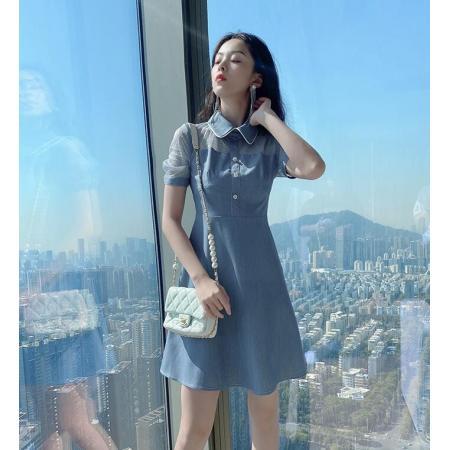 YF38248# 短袖夏季连衣裙夏装新款小个子娃娃领a字裙气质小裙子女夏天服装批发女装直播货源