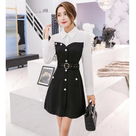 YF38758# 连衣裙春装新款秋冬衬衫假两件黑白拼接打底职业气质女神范