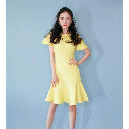 YF39329# 春夏新款杨幂明星同款薄黄色短袖中长款冰丝针织连衣裙鱼尾裙 服装批发女装直播货源