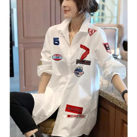 YF39414# 白色宽松大版衬衫女设计感小众印花长袖上衣春装新款欧洲站 服装批发女装直播货源