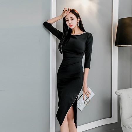 YF39595# 韩版修身春款大圆领中袖斜边侧开叉连衣裙 服装批发女装直播货源
