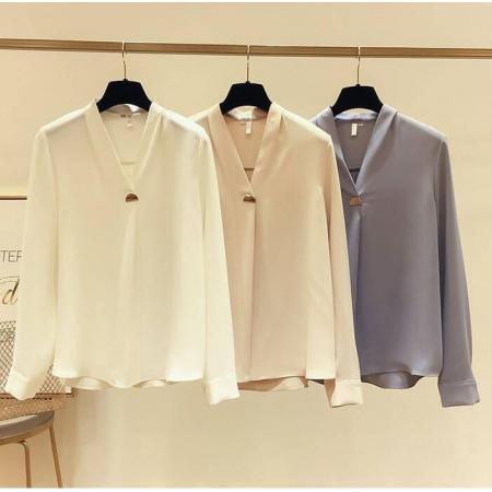 YF39619# 显瘦V领长袖白色衬衫气质宽松纯色衫女超仙新款上衣潮