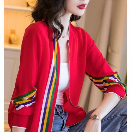 YF39750# 红色雪纺棒球服短外套女春秋新款时尚印花长袖螺纹拼接上衣 女装批发服装直播货源