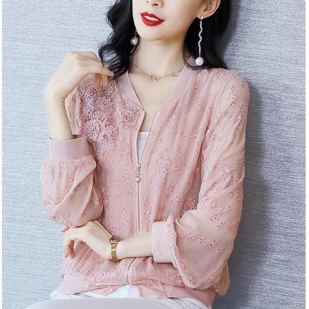 YF39753# 春装真丝外套女薄款新款重工刺绣长袖宽松粉色女士棒球服 女装批发服装直播货源