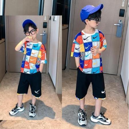 YF39839# 童装男童套装儿童夏装男孩衣服韩版帅气中大童运动套速干