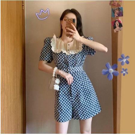 YF40097# 法式复古小个子显高阔腿气质连体裤套装新款女夏季洋气时尚 服装批发女装直播货源