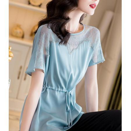 YF40099# 真丝衬衫女士年夏装新款高端蕾丝拼接短袖收腰显瘦桑蚕丝上衣 服装批发女装直播货源