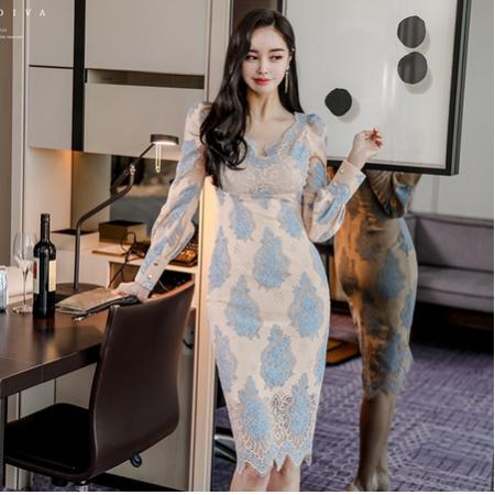 YF40410# 韩版圆领优雅气质高腰修身包臀精致蕾丝连衣裙 服装批发女装直播货源