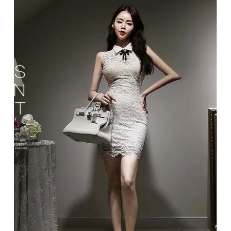 YF41237# 韩版夏款无袖领结V领露背系带蕾丝包臀衬衫连衣裙 服装批发女装货源