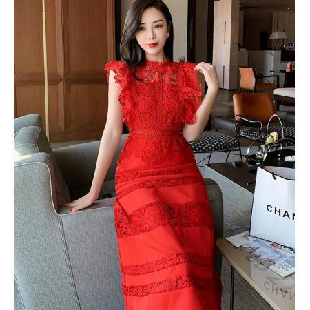 YF41260# 时尚新款精致名媛风蕾丝拼接收腰连衣裙约会聚会