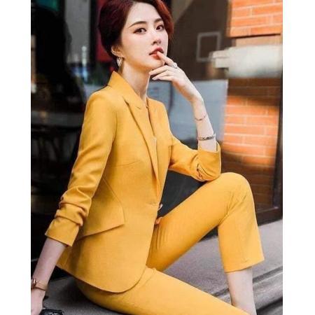YF41265# 职业两件套女秋季新款小西装套装春秋长裤工作服女