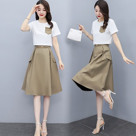 YF42056# 连衣裙女夏夏装新款时尚女装遮肚子显瘦修身套装裙子两件套 服装批发女装直播货源