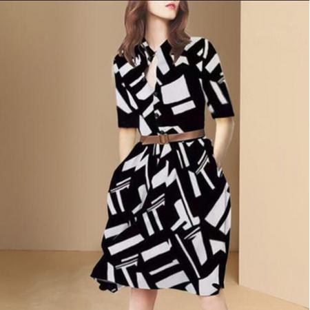 YF42094# 夏装新款女黑白个性连衣裙设计感小众显瘦a字裙子
