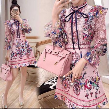 YF42095# 长袖裙子法式复古新款女装秋装碎花气质连衣裙女神范