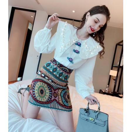 YF42395# 欧衣客甜美风连衣裙春秋时尚减龄娃娃领复古衬衫半身裙两件套