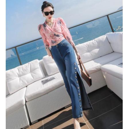 YF42521# 名媛港风套装裤新款女春季气质上衣搭配阔腿裤时尚两件套潮 服装批发女装货源