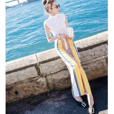 YF42522# 名媛网红新款套装女夏季无袖t恤搭配条纹阔腿裤时尚两件套 服装批发女装货源