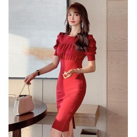 YF42606# 端庄大气轻奢名媛气质优雅包臀裙春装新款女短袖酒红色连衣裙
