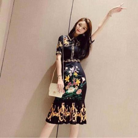 YF43152# 轻奢连衣裙名媛气质衬衫领短袖复古宫廷风印花中长款百褶荷叶边裙