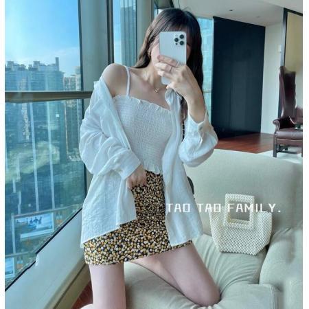 YF43159#衬衣春款新时尚宽松防晒外套百搭中长款显瘦别致上衣女两件套