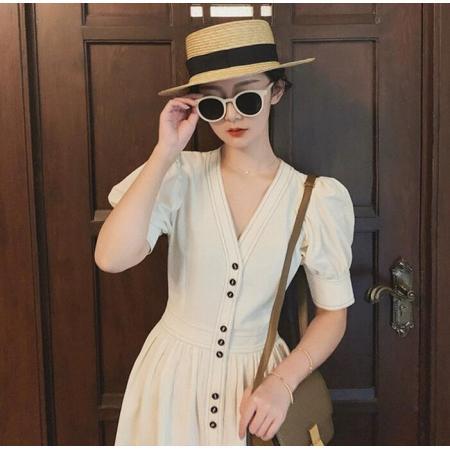 YF43409# 新款连衣裙女夏韩国中长款复古高腰灯笼袖V领收腰法式长裙