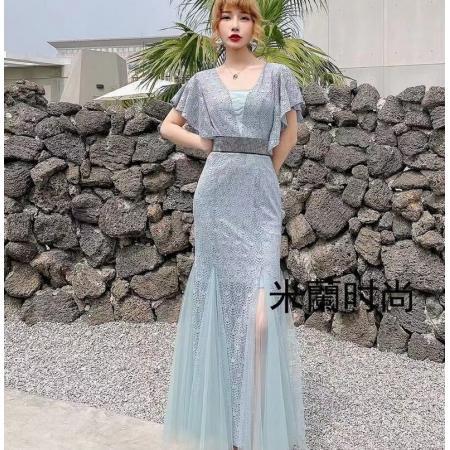 YF43410# 时尚蕾丝连衣裙女夏季新款V领飞飞袖高腰开衩包臀鱼尾裙