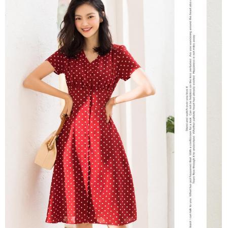 YF43412# 日系红色波点连衣裙女夏高端大牌设计感小众法式海边度假衬衫长裙