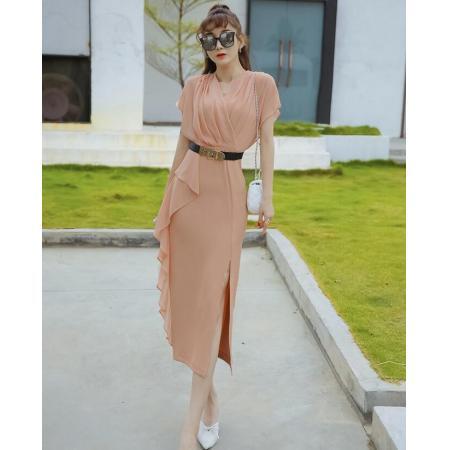 YF43414# 夏装新款女雪纺名媛高端荷叶边连衣裙中长款气质女神范裙子潮