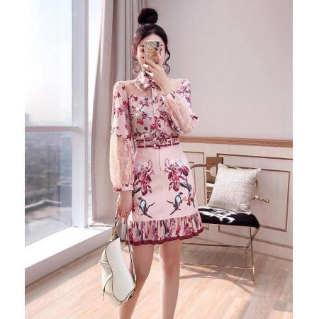 YF43448# 炸街减龄时尚套装新款女装春装衬衫短裙两件套洋气网红气质