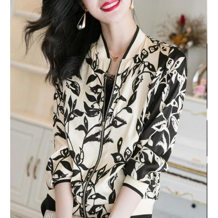 YF43596# 重磅真丝短外套女春装新款高端缎面印花开衫长袖棒球服上衣潮 服装批发女装直播货源
