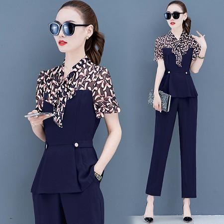 YF44265# 减龄两件套时尚套装夏季女新款洋气小个子显高小脚裤两件套 服装批发女装直播货源