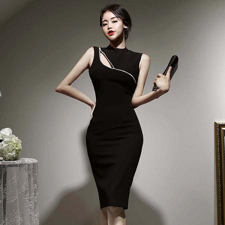 YF44566# 韩版夏装新款无袖半高领亮片修身连衣裙女包臀中裙 服装批发女装直播货源