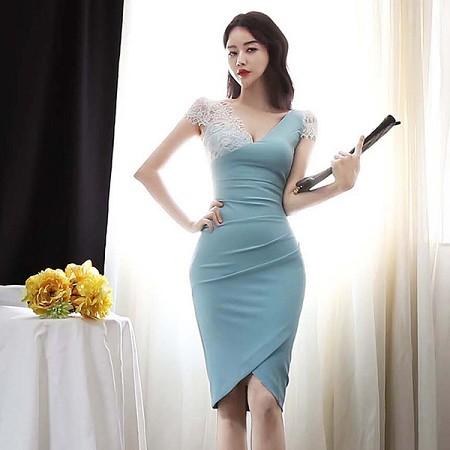 YF44567# 韩版夏装新款性感蕾丝拼接深V领短袖连衣裙女包臀中裙 服装批发女装直播货源
