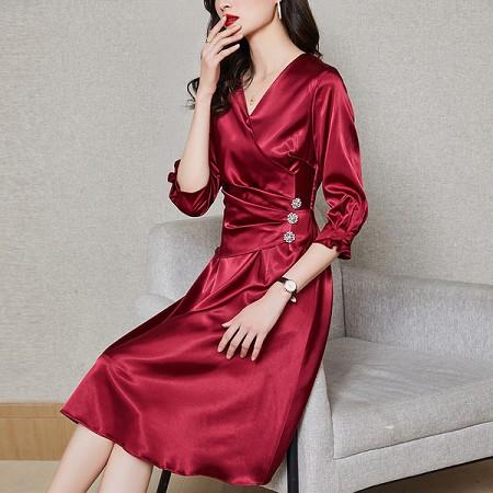 YF44824# 法式修身气质长裙女春季新款连衣裙醋酸丝绸缎面设计感气质 服装批发女装直播货源