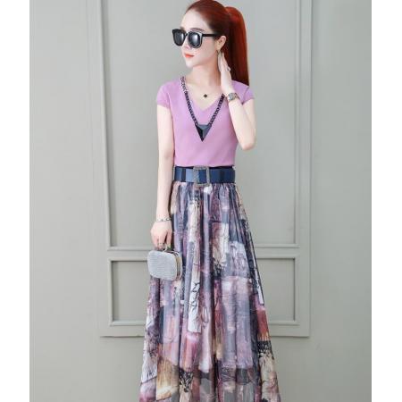 YF45155# 气质连衣裙女神范衣服夏季新款收腰显瘦两件套香芋紫长裙子 服装批发女装直播货源