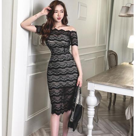 YF45180# 新款气质蕾丝一字肩连衣裙 服装批发女装直播货源