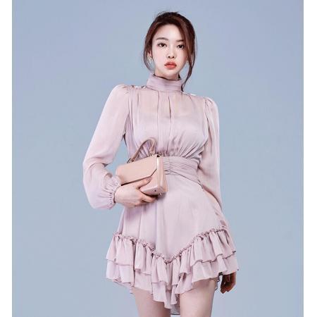 YF45181# 新款高领雪纺气质荷叶边连衣裙3个色 服装批发女装直播货源