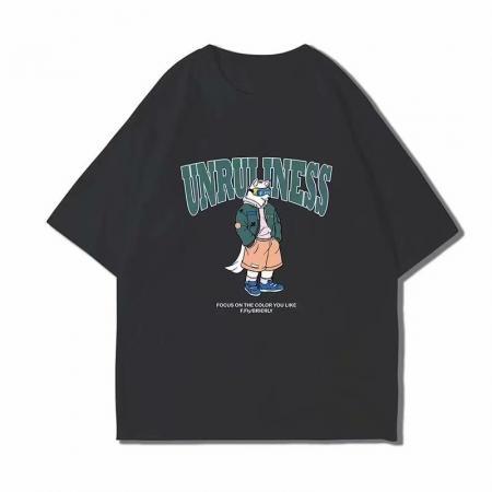 CX5482# 最便宜服装批发 动漫印花短袖T恤男港风2021夏季新款潮牌学生五分袖体恤衫