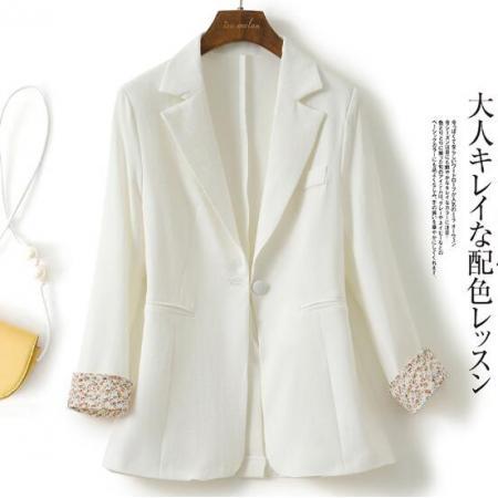 YF45446# 白色薄款西装外套女夏季新款韩版修身碎花袖口设计感小众西服 服装批发女装直播货源