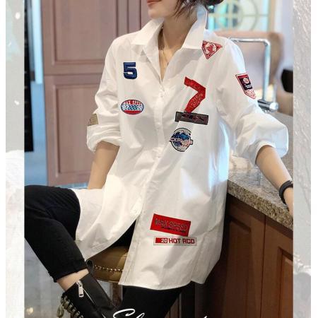 YF45974# 设计感小众印花白色宽松大版衬衫女长袖上衣春装新款欧洲站 服装批发女装直播货源