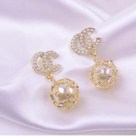 YF46024# 耳环韩国气质网红双C耳钉款潮时尚复古珍珠耳饰女