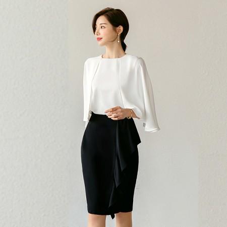 YF46253# 时尚套装女优雅气质圆领蝙蝠衫宽松显瘦包臀裙两件套套装 服装批发女装直播货源