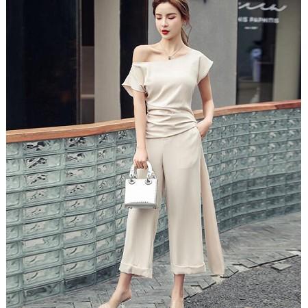 YF46257# 时髦套装夏季新款女装韩版气质漏肩上衣高腰阔腿裤小众两件套 服装批发女装直播货源