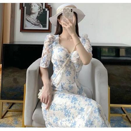 YF46033# 泡泡袖碎花方领连衣裙夏季新款超仙长款气质设计感小众连衣裙