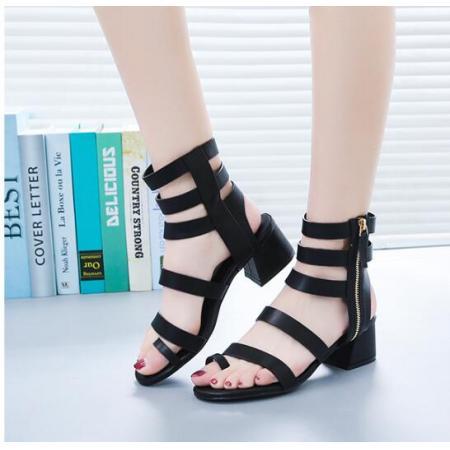X-25439# 罗马凉鞋女粗跟侧拉链镂空套趾女凉鞋低跟街拍鞋