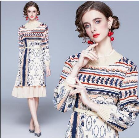 YF47150# 轻奢设计感裙子气质新款秋冬女装复古初恋法式过膝连衣裙