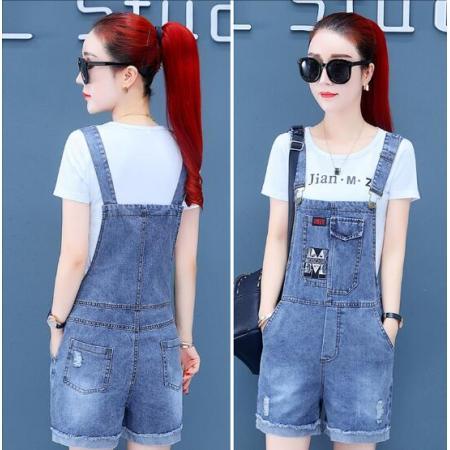 YF47153# 牛仔背带裤套装夏季女新款韩版流行时尚宽松洋气减龄短裤子