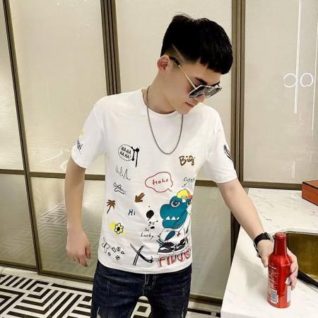 CX5730# 最便宜服装批发 男士夏季半袖韩版潮流学生宽松百搭圆领印花短袖T恤时尚上衣